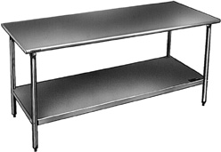 Stainless Steel Bench With Galvanized Legs