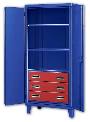 Three Drawer Big Blue Storage Cabinets