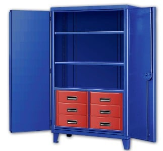 Six Drawer Big Blue Storage Cabinets