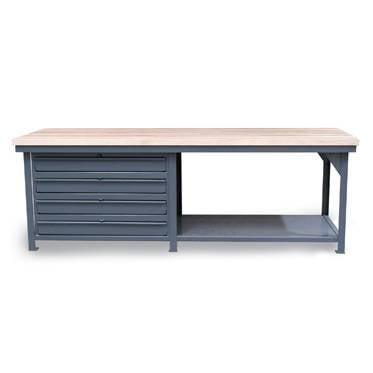 StrongHold Maple Top Bench With Narrow Drawers