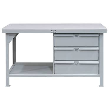 StrongHold Three Drawer Bench With Laminated Plastic Top