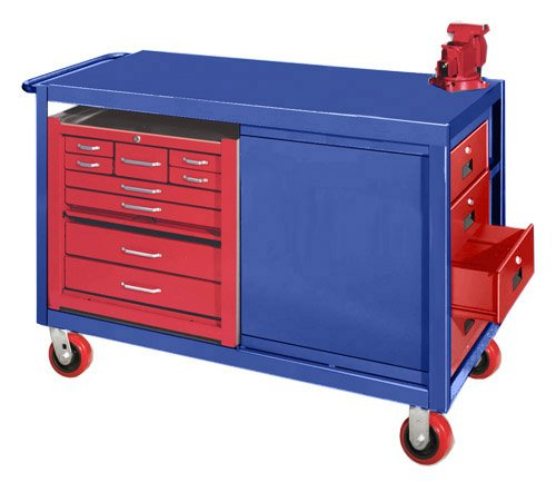 Big Blue Four Drawer Mobile Cabinet With Tool Box