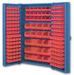 Big Blue Pocket Door Bin Cabinets With Red Bins
