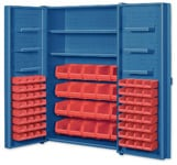 Big Blue Pocket Door Bin Cabinets With Door Shelves Cabinet Shelves and Red Bins