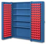 Big Blue Pocket Door Bin Cabinets With Door Mounted Bins