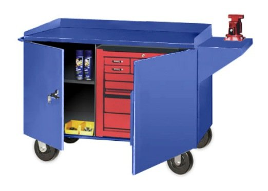 Big Blue Mobile Tool Cabinet Bench