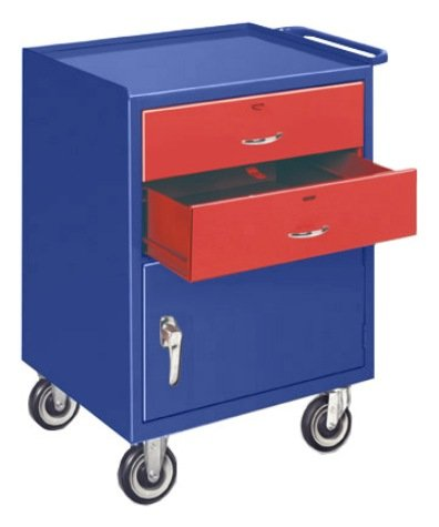 Big Blue Two Drawer One Door Mini Mobile Cabinet