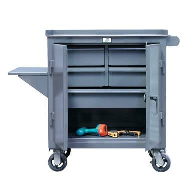 Kingcab Five Drawer Mobile Cart With Mid Height Vise Shelf