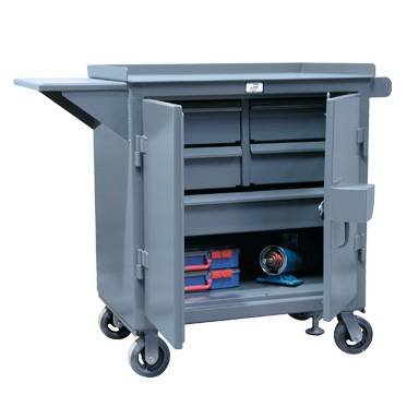 Kingcab Added Security Five Drawer Mobile Cart With Vise Shelf