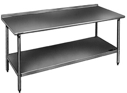 Stainless Steel Bench With Galvanized  Legs And 1 1 2 Inch Lip