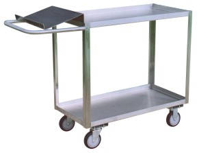 Two Shelf Stainless Steel Cart With Writing Shelf