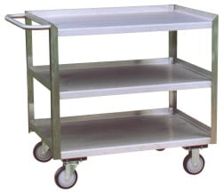 Three Shelf Stainless Steel Utility Cart With Flush Opening And Lips Up For The Other Three Sides