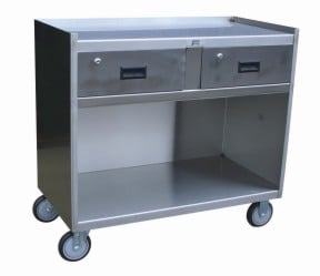 Stainless Steel Mobile Cabinet With Two Drawers