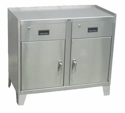 Two Door Work Height Stainless Steel Cabinet With Two Drawers