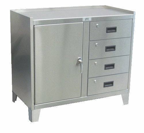 One Door Four Drawer Stainless Steel Work Height Cabinet