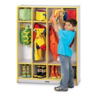 Wood Four Section Locker With Colored Edgebanding