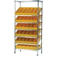 Slanted Wire Shelving With Euro Boxes
