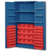 Big Blue Bin Cabinets With Door Shelves Cabinet Shelves And Red Bins