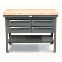 StrongHold Mini Shop Table With Four Drawers Lower Shelf And Maple Top