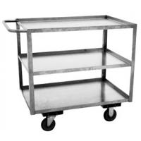 Three Shelf Stainless Steel Utility Cart With Lips Up