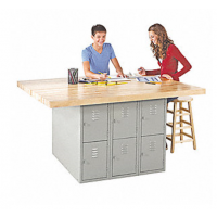 four station steel workbench
