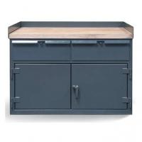 StrongHold Cabinet Work Bench With Two Drawers And Maple Top