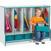 Wood toddler locker with seat and removable trays