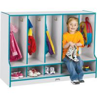 wood toddler locker with seat