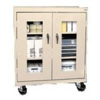 See Through Mobile Counter Height Storage Cabinets