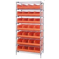 wire shelving with orange stackable bins