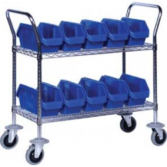 Wire Shelf Cart With Quick Pick Bins