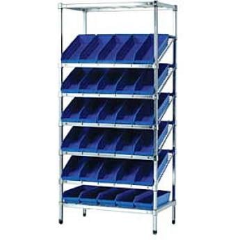 Slanted Wire Shelving With Shelf Bins