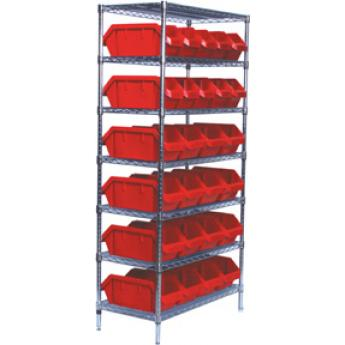 Wire Shelving With Dual Access Bins
