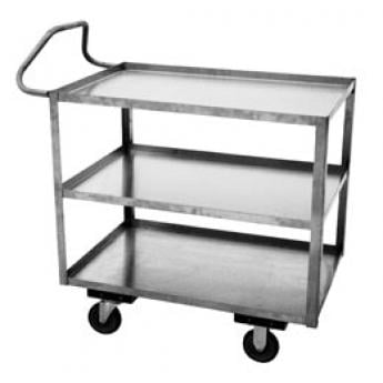Three Shelf Stainless Steel Rolling Carts With Ergo Handle