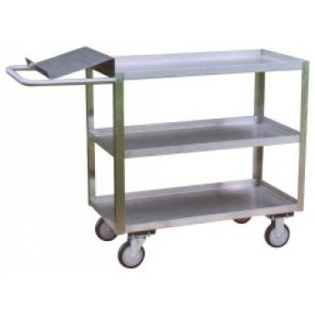 Three Shelf Stainless Steel Carts With Writing Shelf