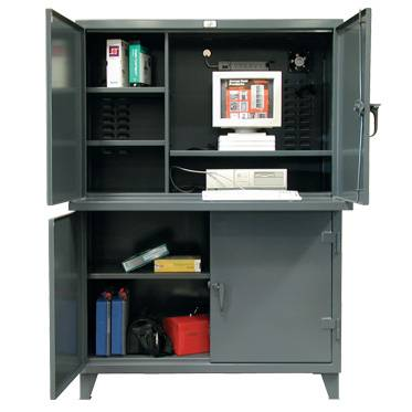 stronghold two compartment computer cabinet