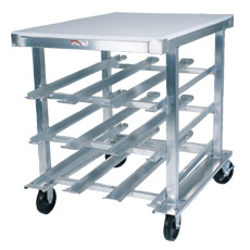 72 Can Capacity Mobile Can Rack - With Stainless Steel Top
