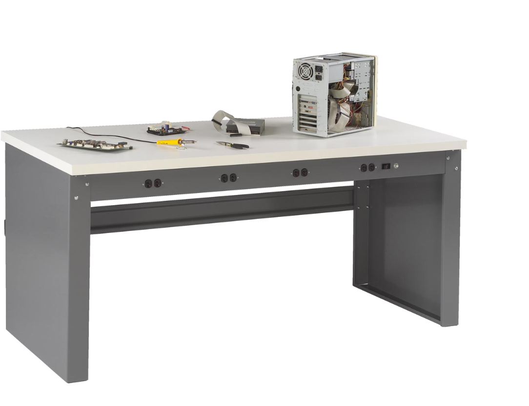 electronic workbench with stringer and outlet panel