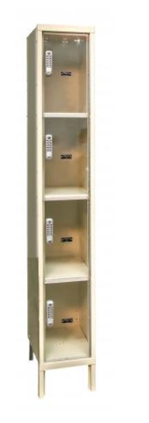 four tier see through digitech electronic access lockers