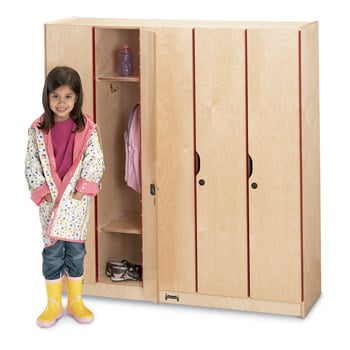 Five section wood lockers with locking doors storage for Wood lockers with doors