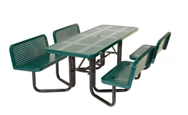 green picnic bench back