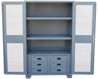All Welded 14 Gauge Storage Cabinets With Drawers And Expanded Metal Doors