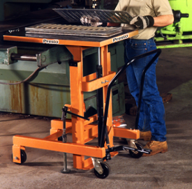 hydraulic cantilever table in use