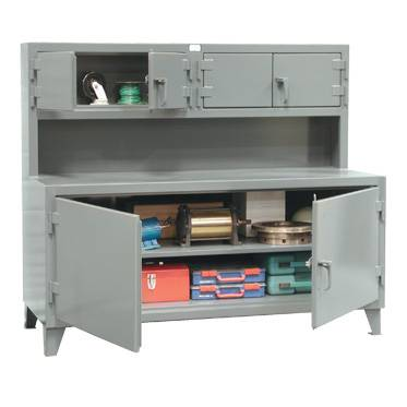 StrongHold Cabinet Work Stations With Upper Compartment
