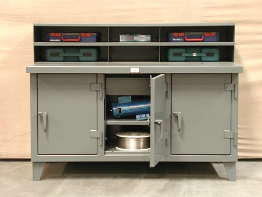 StrongHold Multi Shift Work Bench With Partitioned Riser And Enclosed Drawers