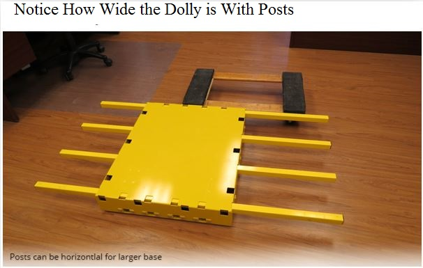low profile dolly horizontal post configured