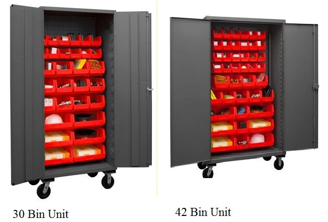 mobile cabinets red bins