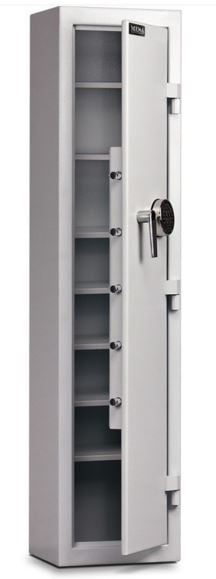 narrow pharmacy safe with open door