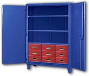 Nine Drawer Big Blue Industrial Cabinet