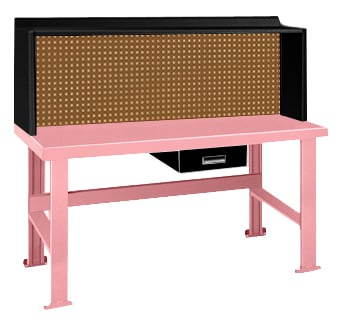 Pink Elephant Workbench With Alpha Drawer and Riser With Pegboard